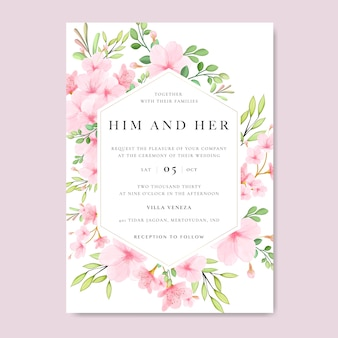 Wedding floral cherry blossom frame