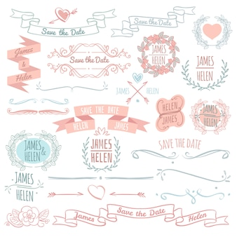 Wedding floral decoration elements vector collection with hand drawn wreath frames, banners and monograms. illustration of wedding decoration design