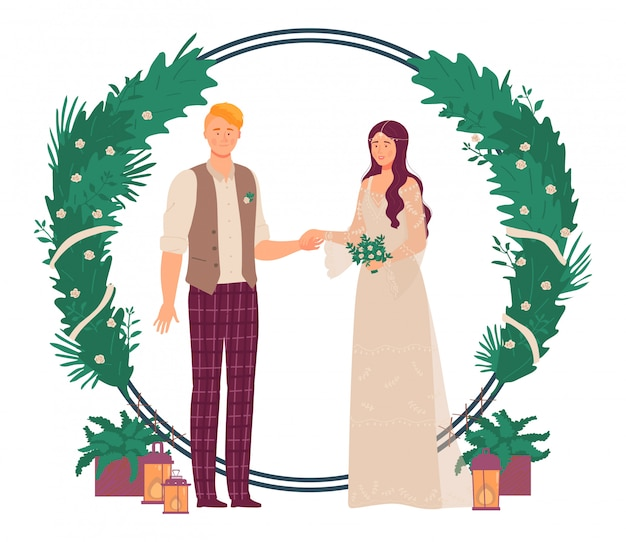 결혼식 꽃 장식 그림, 만화 녹색 로맨틱 커플 사람들이 다음 녹색 식물과 꽃 아치 게이트 서
