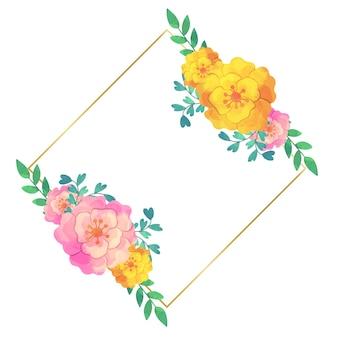 結婚式の花のフレームデザイン