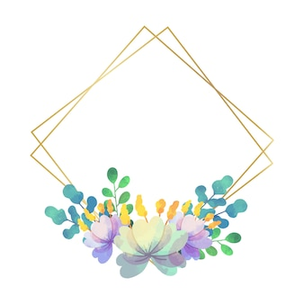 웨딩 꽃 프레임 기하학적 스타일