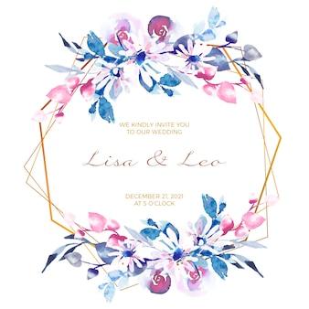 結婚式の花のフレームの招待カード