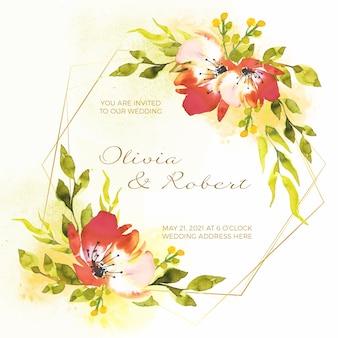 Wedding floral frame invitation concept