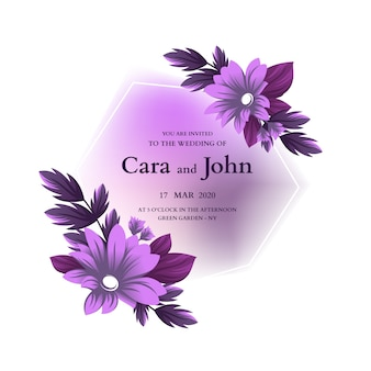 結婚式の花のフレームの招待状のテンプレート