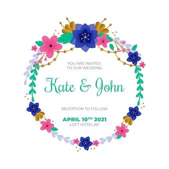 Modello di invito cornice floreale di nozze