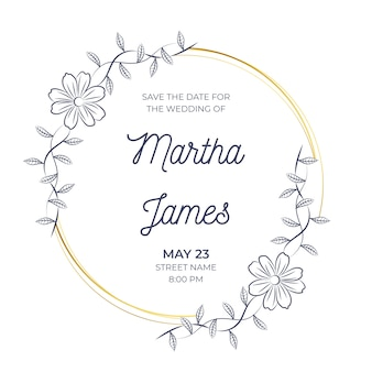 Wedding floral frame invitation