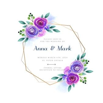 結婚式の花のフレームへの招待