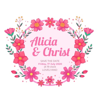 Wedding floral frame save the date pink flowers