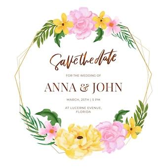 結婚式の花のフレームテンプレート
