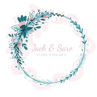 テキストと結婚式の花のフレーム