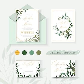 Wedding floral gold invitation card envelope save the date rsvp design with green tropical leaf herbs eucalyptus wreath and frame. botanical elegant decorative vector template watercolor style