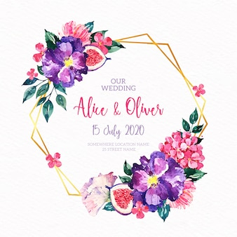 Свадебная цветочная золотая рамка