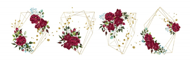 Wedding floral golden geometric triangular frame with bordo flowers roses and green leaves isolated