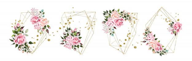 Wedding floral golden geometric triangular frame with pink flowers roses and green leaves isolated