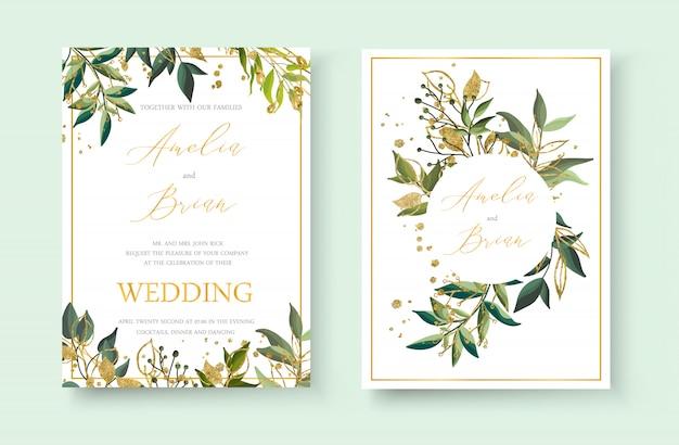 結婚式の花の黄金の招待状封筒は、緑の熱帯の葉のハーブと金飛び散っと日付のミニマリズムのデザインを保存します。植物のエレガントな装飾的なベクトルテンプレート水彩風