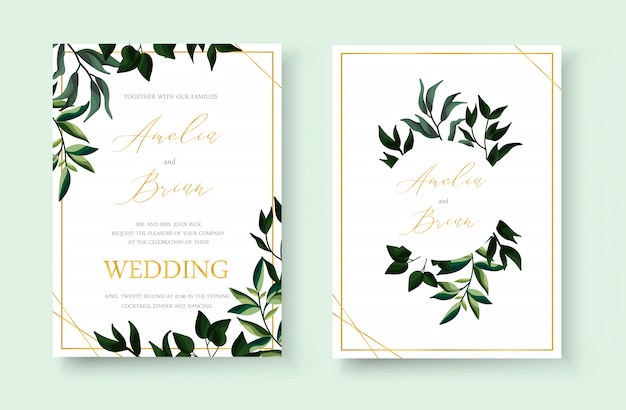 Wedding floral golden invitation card save the date design with green tropical leaf herbs wreath and frame. botanical elegant decorative vector template watercolor style Free Vector