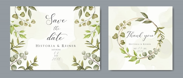 Wedding floral golden invitation card & save the date minimalism design with green botanical leaves