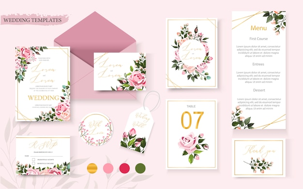 Wedding floral golden invitation card save the date rsvp table menu design with pink flowers roses and green leaves wreath and frame. botanical elegant decorative vector template in watercolor style
