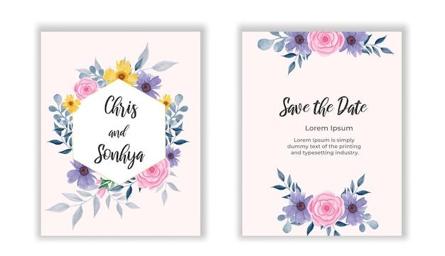 結婚式の花の黄金の招待カードは、ピンクの花のバラと緑の葉とフレームで日付のデザインを保存します