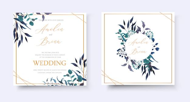 結婚式の花の黄金の招待状は、熱帯の葉のハーブユーカリの花輪とフレームの日付rsvpデザインを保存します。植物のエレガントな装飾的なベクトルテンプレート水彩風
