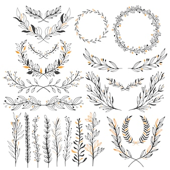 Wedding floral graphic elements set