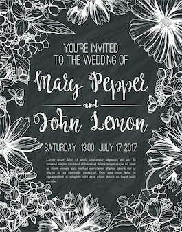 Wedding floral greeting card, invitation