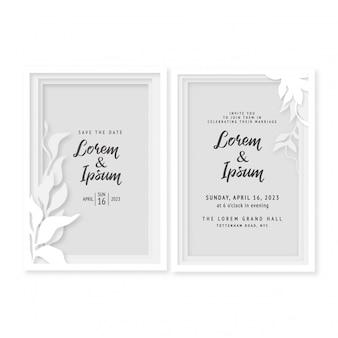 結婚式の花の招待カードペーパーカットの水彩画の装飾的なテンプレート