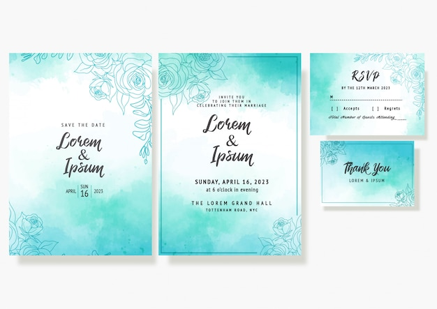 Wedding floral invitation card save the date rsvp decorative template in watercolour's