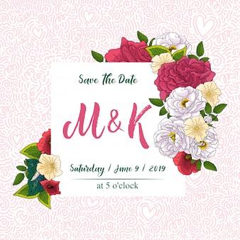 Свадебные цветочные пригласительный билет, сохранить дизайн даты с розовыми, красными цветами - розами и зелеными листьями венка и рамки. ботанический декоративный шаблон