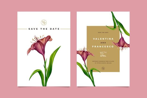 Wedding floral invitation card template