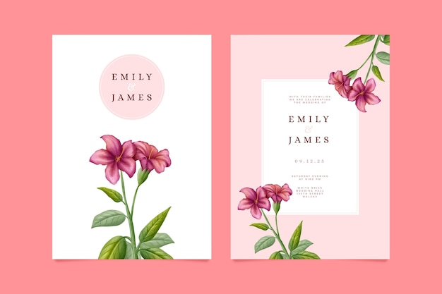 Wedding floral invitation card template