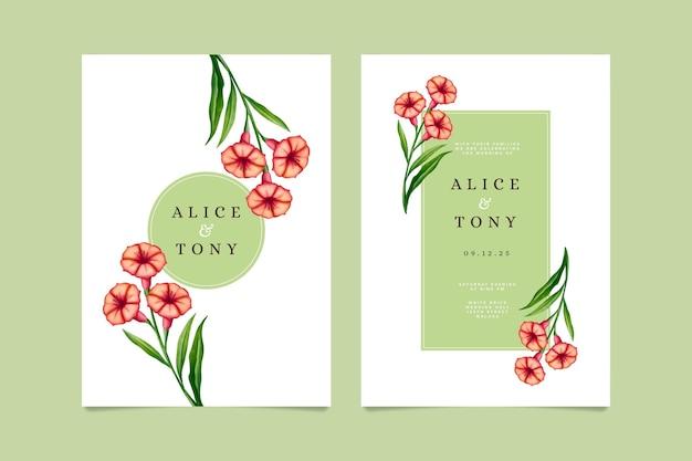 Modello di carta di invito floreale di nozze