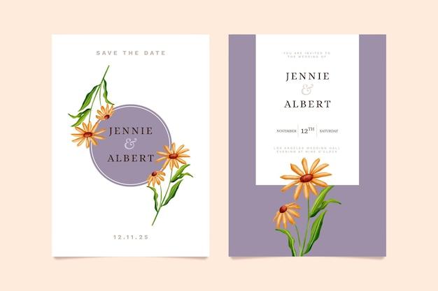 Шаблон свадебного цветочного приглашения