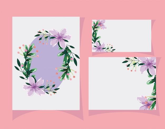 결혼식 꽃 초대장, 꽃 수채화 템플릿 카드 나뭇잎