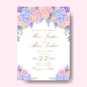 Wedding floral invitation with  hydrangea