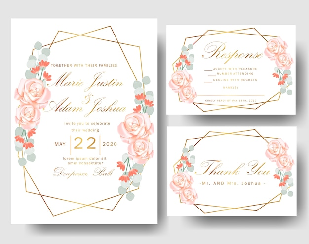 Wedding floral invitation with roses and eucalyptus leaves