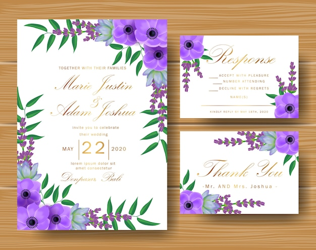 Wedding floral invitation with succulents