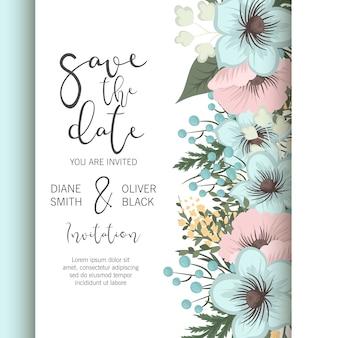 結婚式の花は、エレガントな青い花と日付カードのデザインを保存