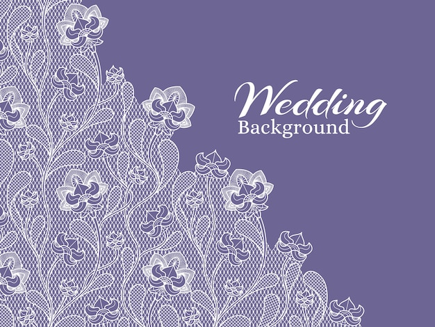 Wedding floral vector background with lace pattern