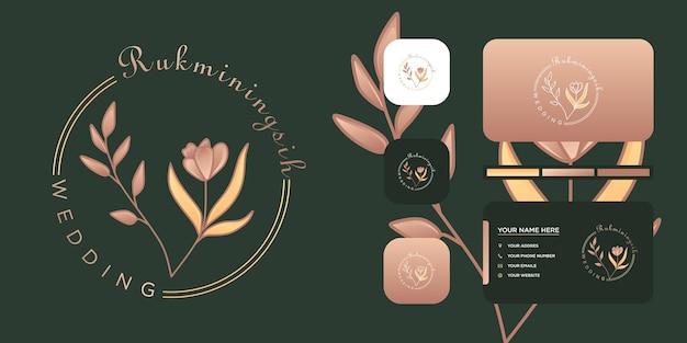 웨딩 꽃집 로고 미니멀리스트 템플릿 및 사진.