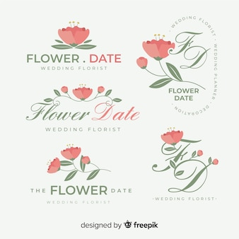 Wedding florist logo template collection