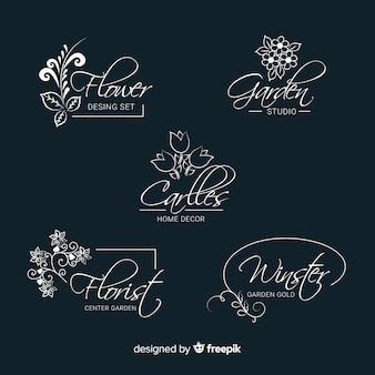 Wedding florist logo templates collection Free Vector