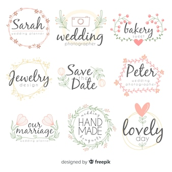 Wedding florist logo templates collection