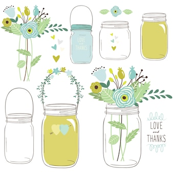 Wedding flower mason jar elements
