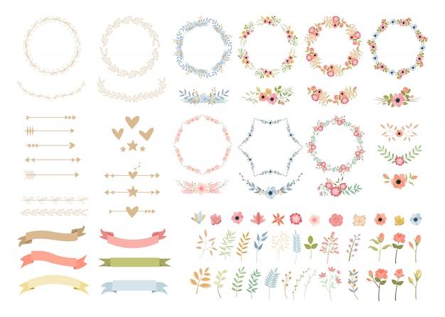 結婚式の花のエレガントな装飾のカラフルなイラストセット