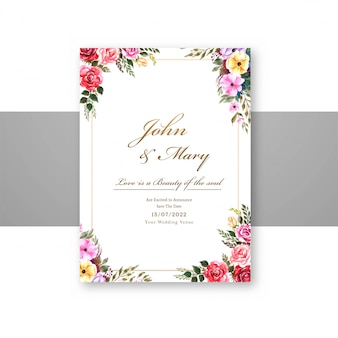 Wedding flowers with invite invitation card template design