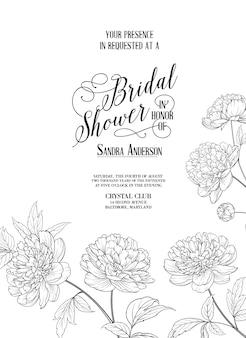 咲く牡丹と結婚式のフレームカード。