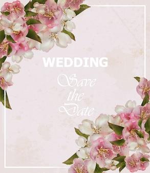 ウェディングフレームカード、桜の花