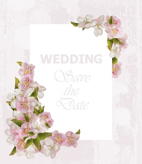 ウェディングフレームカード、桜の花 Premiumベクター