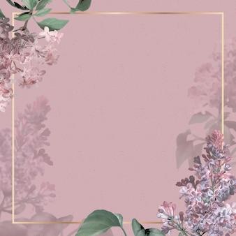 분홍색 배경에 라일락 테두리가 있는 웨딩 프레임
